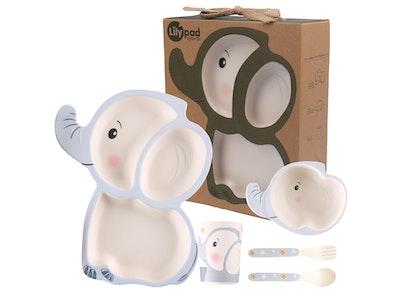 Lily Pad + Little Mr - Bamboo Fibre Childrens Dinnerware Set (Little Ellie Elephant)