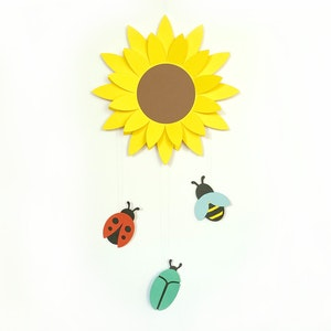 Sunflower with bugs and bees children's mobile