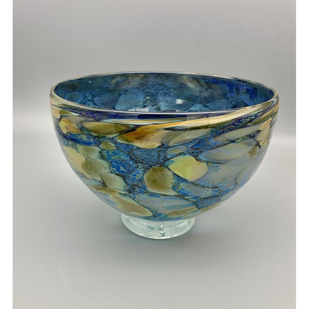 David M Flower Mouth Blown Glass Bowl In Hydrangea Pattern. Size: Medium.