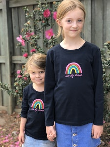 Kids' Long Sleeve Rainbow T-Shirt in Navy
