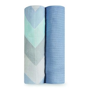 aden+anais essentials ziggy blue 2 pack bamboo swaddles