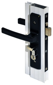 Archie Hardware Archie screen door lock for hinged doors in black finish (Cylinders not included)