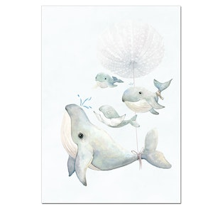 Happy Mumma Whale and Baby Whales Print - A4
