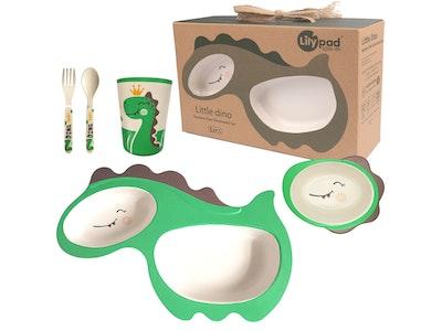 Lily Pad + Little Mr Bamboo Fibre Childrens Dinnerware Set (Little Dino Dinosaur)