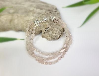 Uniqu-Lea Yours Triple Strand Rose Quartz and Hill Tribe Silver Bracelet