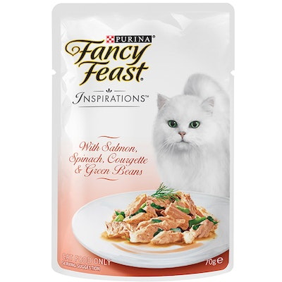 Fancy Feast Inspirations Cat Food Salmon Spinach Corgette & Green Beans 70g x 12
