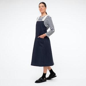 Linen/Cotton Pinafore With Herringbone Cross Back, Navy