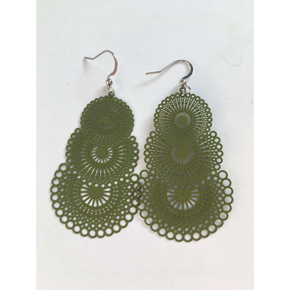 One of a Kind Club Olive Green Strong Circles Earrings