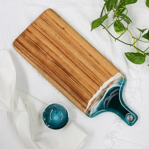 Deep Ocean Resin Cheese Board with Bowl - Paddle