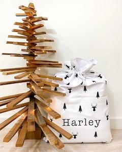 Santa Sack Reindeer & Trees - Plain Font