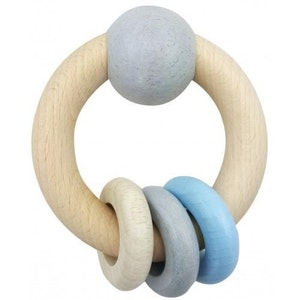 Hess Spielzeug Hess-Spielzeug - Rattle Round With Ball & 3 Rings Natural Blue