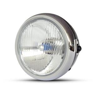 "6.5"" Classic Metal Headlight - Gloss Black / Chrome"