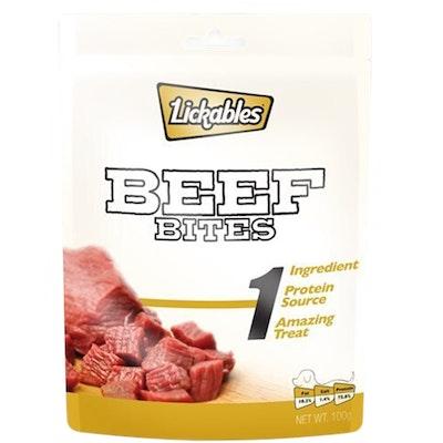 Lickables 1 Natural Beef Bites Dog Snack Chew Treats 100g