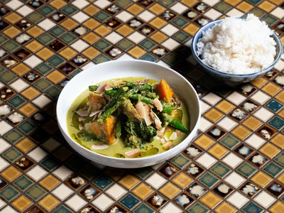 Chargrilled Vegetable Green Curry, Toasted Coconut