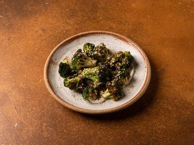 Broccoli, whipped macadamia hummus, roasted garlic dressing