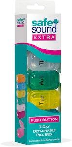 Safe + Sound Push-Open 7 Day Pill Box Medicine Organiser Multicoloured