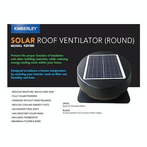 Roof Ventilator Solar Powered Brushless Motor Whisper Quiet Kimberley KSV300