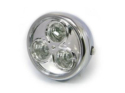 3 Eyes LED All Metal Headlight - Chrome