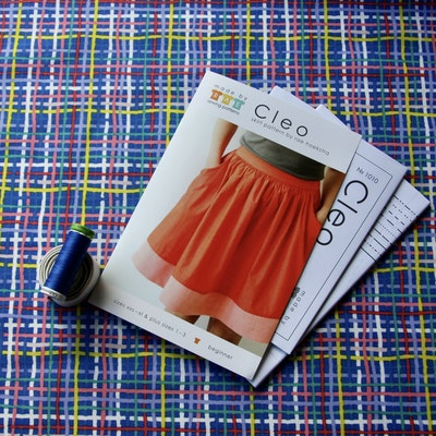 Pattern Scissors Frock SEWING PROJECT KIT for the CLEO SKIRT with ORGANIC QUILTING COTTON - Sizes XXS-XL