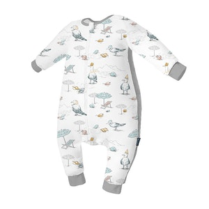 Domiamia  Silky Bamboo Long Sleeve Sleepsuit with Stretchy Side Panel- Blue Bird Beach (1.0 Tog)