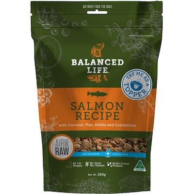 BALANCED LIFE Dog & Puppy Air Dried Raw Dog Food Topper Salmon 200g