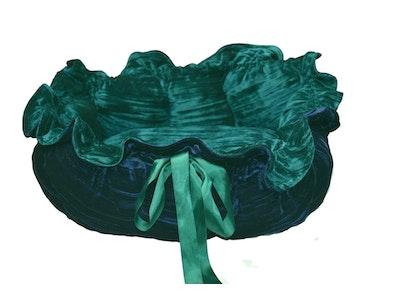 Mariska Hand Made Forest Green and Ink Blue Velvet Pet Beds