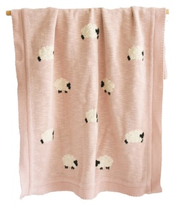 Alimrose - Baa Baa Organic Cotton Baby Blanket - Dusty Pink
