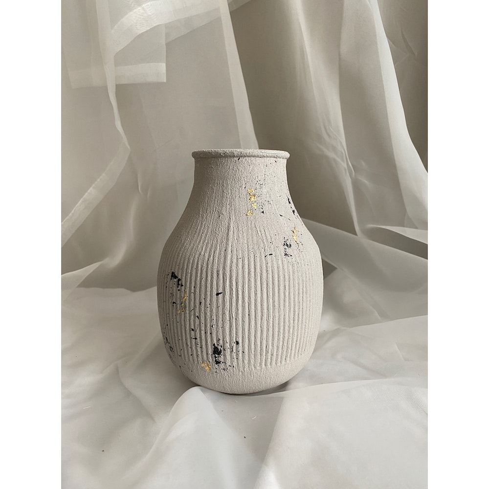 Sixteen Luxe Handpainted 18cm Concrete Vase With Black Fleck And Gold Leaf