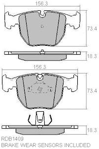 FULL SET RDA GP MAX BRAKE PADS FRONT & REAR for BMW E39 540i 4.4L V8 w/sensors