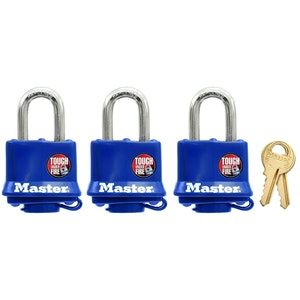 Master Lock 312TRI 40mm Wide Weather Resistant Laminated Steel Padlocks 3 Pack