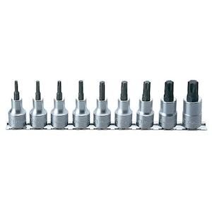 "KORS4025/9 Socket Set Torx On Rail 9 Piece 1/2""Dr T20-T60 60mm KORS4025/9 Koken"