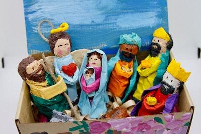 Liliz Lu Studio Mexican Paper Mache Nativity Set
