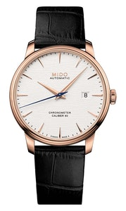 Mido Baroncelli Chronometer Silicon Gent - Stainless Steel with Rose Gold PVD - Black Leather Strap
