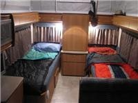 Bed-time aboard the 2009 Jayco Discovery
