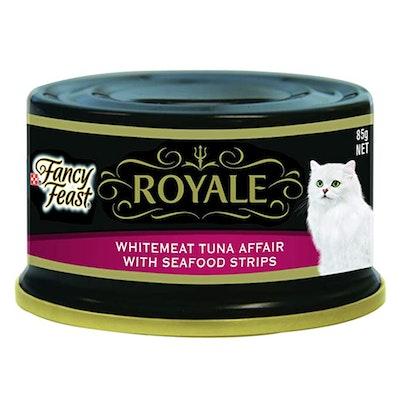Fancy Feast Royale Wet Cat Food Whitemeat Tuna Affair & Seafood Strips 85g x 24