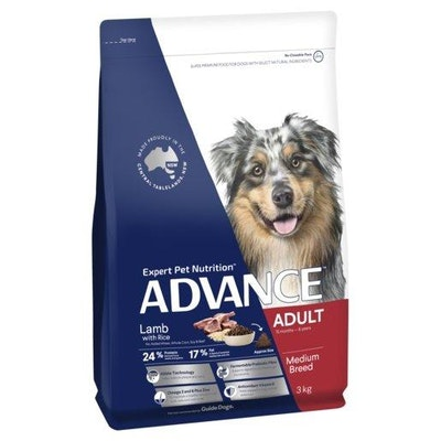 Advance Dry Dog Food Adult 3kg Lamb And Rice
