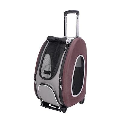 Ibiyaya EVA Pet Carrier-Pet Wheeled Carrier - Brown