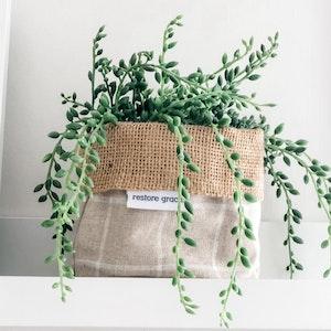 Mini Pot Plant Cover- Linen Check