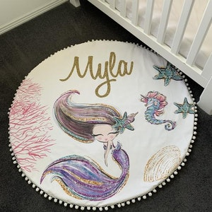 On Chic Baby Clothes Personalised Mermaid Baby Playmat