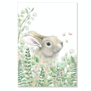 Forest Flowers Bunny Print - A3 Size