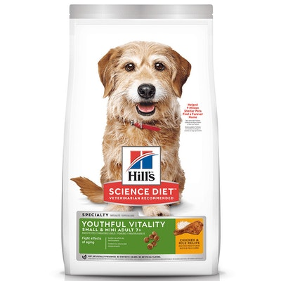 Hills Adult 7+ Small & Toy Youthful Vitality Dry Dog Food Chicken & Rice 1.58kg