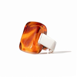 Empire Ring - Amber Glass & Sterling Silver