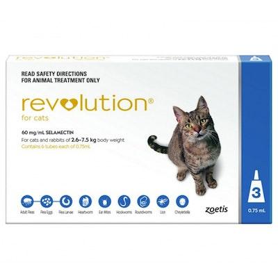 Revolution 2.6-7kg Cat Parasite Wormer Treatment Tube Blue - 2 Sizes