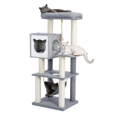 House of Pets Delight Wooden Large Hammock Cat Tree in Grey