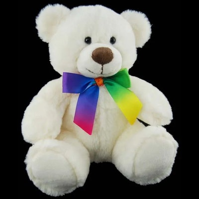 Tebby Bears  White Rainbow Ribbon Bear