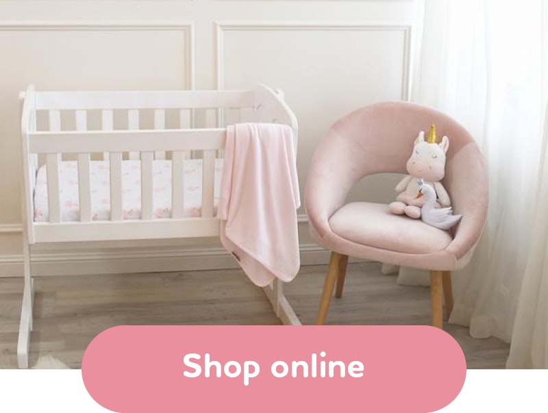 Image of a baby nursery with text that reads Shop online