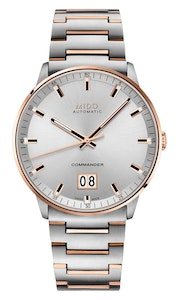 Mido Commander Big Date - Stainless Steel with Rose Gold PVD - Stainless Steel Strap