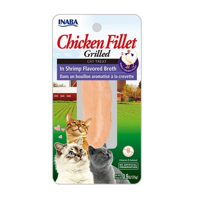 INABA Chicken Fillet Grilled Cat Treat in Shrimp Flavored Broth 6 x 25g