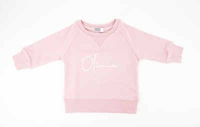 Personalised Name Sweater Pale Pink - Fancy Font