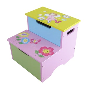 All 4 Kids Girl Hand Painted Pink Fairy Step Stool